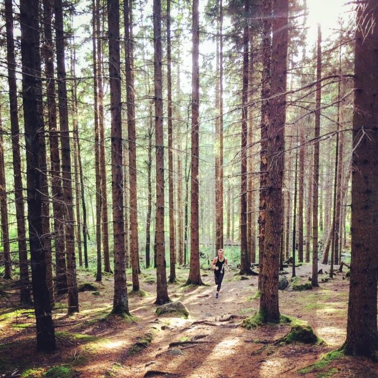 Kroppen är cool - man kan tex springa långt (eller kort) i fantastiska skogsmiljöer - vem blir inte lycklig här?
