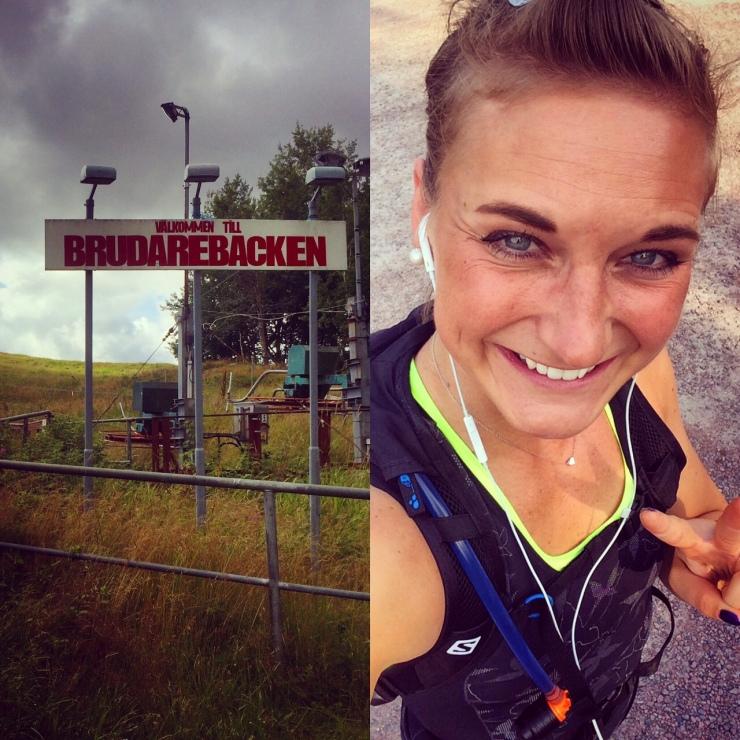 Dagens idé: Springa upp för Brudarebacken 10 gånger - blev 11 varv, drygt 9 km löpning och nästan 500 höjdmeter. Löpningen var stundtals inte(!) vacker, men jag sprang hela backarna och började inte gå trots att kroppen skrek åt mig att pausa.