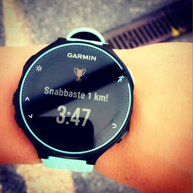 Första kilometer tiden under 4 min/km under ett intervallpass i Tyskland.